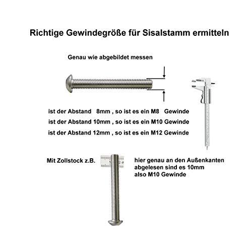 Sisalstamm 15 cm, mit Stehbolzen, 8 mm - 4